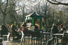 JANUARY 25: People enjoy a sunny winter day in Retiro P Royalty Free Stock Images