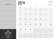 January planner 2018 on White Background for organization and bu. Siness. Week Starts Monday. Minimal Planner with eclipse notification with note and copy space Stock Photo