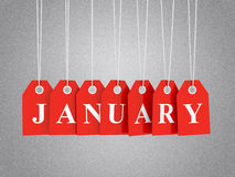 January promotions. January tag on red hanging labels. January promotions Royalty Free Stock Photos