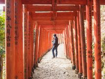 The photographer with red torii. January 31, 2018. Red torii in YÅ«toku Inari Shrine. Photographers are considering the composition to elaborate the image that royalty free stock photo