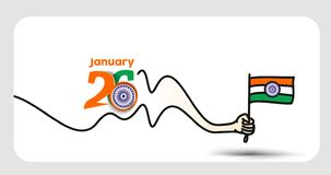 26 january Republic day concept hand holding indian flag. Vector illustration royalty free illustration