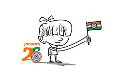 26 january Republic day concept with a little boy holding indian. Flag Stock Images