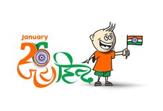 26 january Republic day concept with a little boy holding indian. Flag Stock Photos