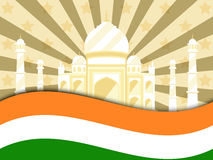 26 january Republic Day India. Celebration poster with flag and Taj Mahal. Vector Royalty Free Stock Photography