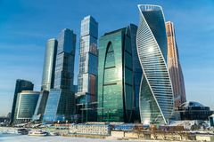 January 25, 2018. Russia. Moscow. Morning. Moscow city business Center on the background of the ice-covered Moscow river Royalty Free Stock Photos