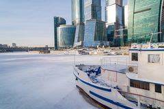 January 25, 2018. Russia. Moscow. Morning. Moscow city business Center on the background of the ice-covered Moscow river Royalty Free Stock Image