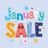 January sale. Decorative lettering type design Royalty Free Stock Photos