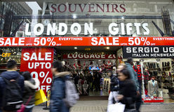 January sale, Oxford Street, London. London, UK - January 19, 2015: The famous Oxford Street, people present, pack with crowds of tourists and locals doing their royalty free stock photo