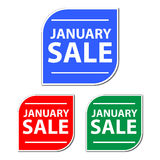 January Sale. Three January sale labels in different colors royalty free stock photo