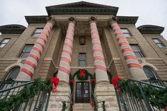 Courthouse in San Marcos Texas. January 1, 2016 San Marcos, Texas, USA: the Hays county courthouse in Christmas decoration, the building is recognized by the stock photos