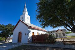 Historic church in San Ygnacio, Texas. January 12, 2016 San Ygnacio, Texas: Historic Our Lady of Refugio Catholic Church is located at the intersection of Laredo Royalty Free Stock Images