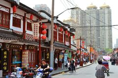 7 JANUARY 2017 - SHANGHAI, CHINA - Shops surround the Yu Garden in the centre of the Shanghai old town Royalty Free Stock Photo