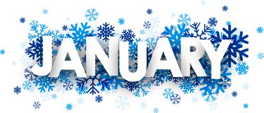 January sign. January sign with snowflakes. Vector illustration royalty free illustration