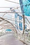 15 January 2016, Singapore - Marina Bay hotel, bridge, museum Royalty Free Stock Images