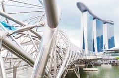 15 January 2016, Singapore - Marina Bay hotel, bridge, museum Stock Images