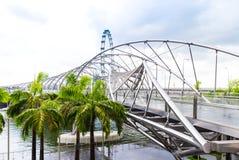 15 January 2016, Singapore - View on a bridge and palms Marina Bay Stock Photography