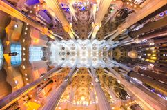 January 31st 2016 Barcelona, Spain. The works on amazingly colorful Sagrada Familia Cathedral interior are progressing Stock Photography