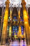 January 31st 2016 Barcelona, Spain. The works on amazingly colorful Sagrada Familia Cathedral interior are progressing Royalty Free Stock Photo