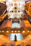 January 31st 2016 Barcelona, Spain. The works on amazingly colorful Sagrada Familia Cathedral interior are progressing Royalty Free Stock Photos