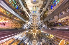 January 31st 2016 Barcelona, Spain. The works on amazingly colorful Sagrada Familia Cathedral interior are progressing Royalty Free Stock Images