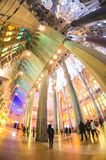 January 31st 2016 Barcelona, Spain. The works on amazingly colorful Sagrada Familia Cathedral interior are progressing Royalty Free Stock Photography