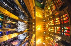 January 31st 2016 Barcelona, Spain. The works on amazingly colorful Sagrada Familia Cathedral interior are progressing Royalty Free Stock Image