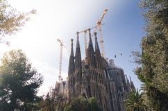 January 31st 2016 Barcelona, Spain. The works on Sagrada Familia Cathedral are progressing Royalty Free Stock Photography