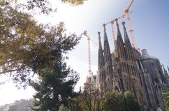 January 31st 2016 Barcelona, Spain. The works on Sagrada Familia Cathedral are progressing Stock Image