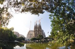 January 31st 2016 Barcelona, Spain. The works on Sagrada Familia Cathedral are progressing Stock Photos