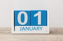 January 1st. Day 1 of january month, calendar on light background. Happy New year, Winter time.  royalty free stock image