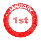 January 1st Red Ink Stamp. A January 1st red in stamp over a white background royalty free illustration
