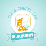 2 January Swiss Cheese Day. Calendar for each day on January 2. Greeting card. Holiday - Swiss Cheese Day Icon in the linear style Stock Photo