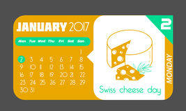 2 January Swiss Cheese Day. Calendar for each day on January 2. Greeting card. Holiday - Swiss Cheese Day. Icon in the linear style Royalty Free Stock Photo