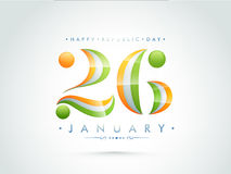 26 January Text Design for Indian Republic Day. Stock Image