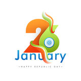 26 January Text Design for Republic Day. Stock Image