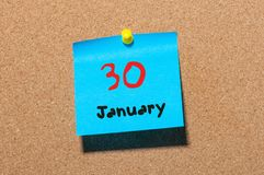 January 30th. Day 30 of month, Calendar on cork notice board. New year at work concept. Winter time. Empty space for. Text Royalty Free Stock Image