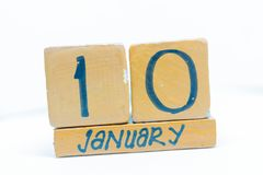 January 10th. Day 10 of month, calendar on wooden background. Winter time, year concept. January 10th. Day 10 of month. calendar on wooden background. Winter stock photography