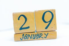 January 29th. Day 29 of month, calendar on wooden background. Winter time, year concept. January 29th. Day 29 of month, calendar on wooden. background. Winter stock photography