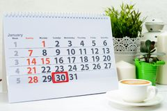 January 30th. Day 30 of month. On white calendar stock image