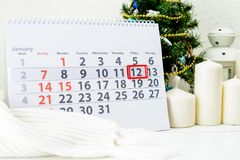 January 12th. Day 12 of month. On white calendar stock photography