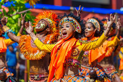 January 24th 2016. Iloilo, Philippines. Festival Dinagyang. Unidentified people on parade in carnival costumes. Documentary