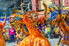 January 24th 2016. Iloilo, Philippines. Festival Dinagyang. Unid. Entified people on parade in carnival costumes. Documentary Editorial Image Stock Image