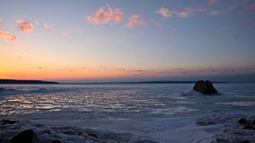 January Thaw - Georgian Bay Sunset in Ontario Stock Image