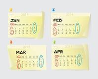 January to April Calendar 2014 Stock Photo