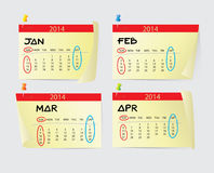 January to April Calendar 2014 Stock Image