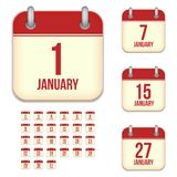 January vector calendar icons Royalty Free Stock Photo