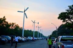 January 21, 2018 - Visit Bangpoo and see the wind turbine with family. January 21, 2018 - Visit Bangpoo and see the wind turbine with family, walk on the Royalty Free Stock Image
