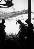 January 1939, waiting the aerial railway at Pocol, Italy Royalty Free Stock Image