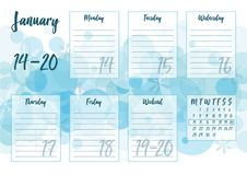January 2019 Weekly planner. Vector illustration of January 2019 Weekly planner with abstract winter background - snow and snowflakes. For print notebooks Stock Photo