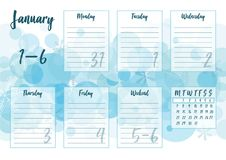 January 2019 Weekly planner. Vector illustration of January 2019 Weekly planner with abstract winter background - snow and snowflakes. For print notebooks Royalty Free Stock Image